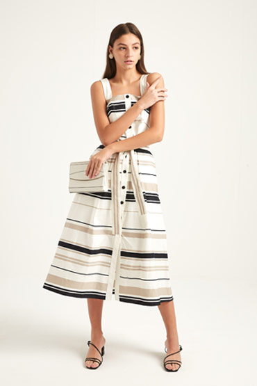 Multistripe Cotton Day Dress – Karen Millen thumbnail