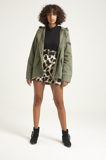 Solid Swing Parka Jacket In Olive Green thumbnail