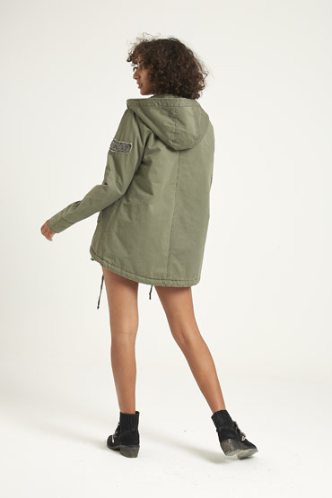 Solid Swing Parka Jacket In Olive Green – Aeropostale thumbnail