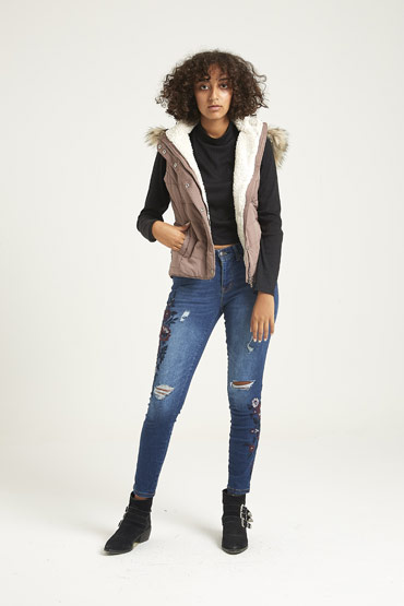 Solid Faux Fur Hooded Puffer Vest In Purple thumbnail