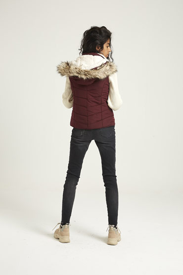 Solid Faux Fur Hooded Puffer Vest In Burgundy – Aeropostale thumbnail
