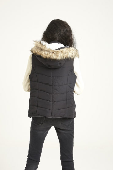 Solid Faux Fur Hooded Puffer Vest In Black thumbnail