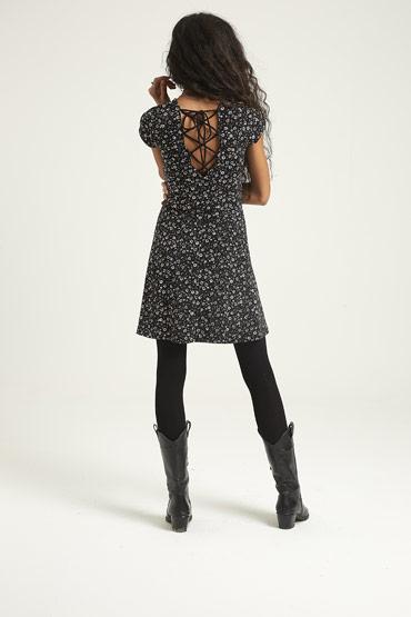 Floral V-Neck Laced-Back Fit & Flare Dress – Aeropostale thumbnail