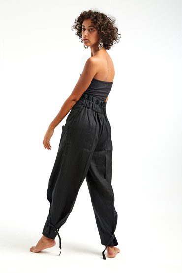 Balloon Pants in Black Linen – Sara El Emary thumbnail