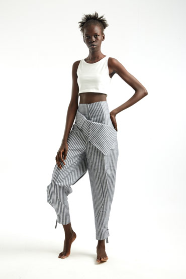 Balloon Pants in Striped Linen – Sara El Emary thumbnail
