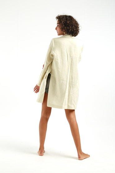 Open Sides Linen Blazer – Sara El Emary thumbnail
