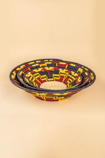 A Large Ugandan Straw Basket In Black And Burgundy – Madu thumbnail