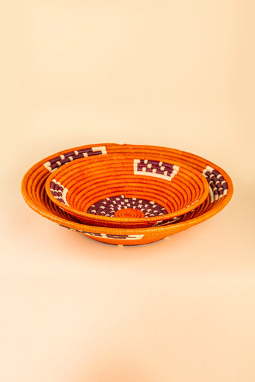 A Large Ugandan Straw Basket In Orange – Madu thumbnail