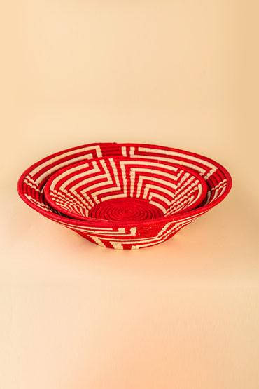A Large Ugandan Straw Basket In Red – Madu thumbnail