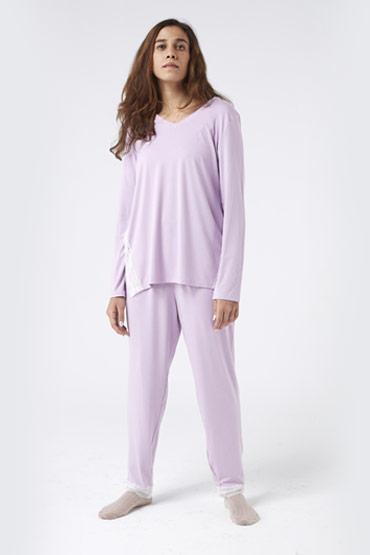 Contrast Lace Trim Top and Pants PJ Set – Carina thumbnail