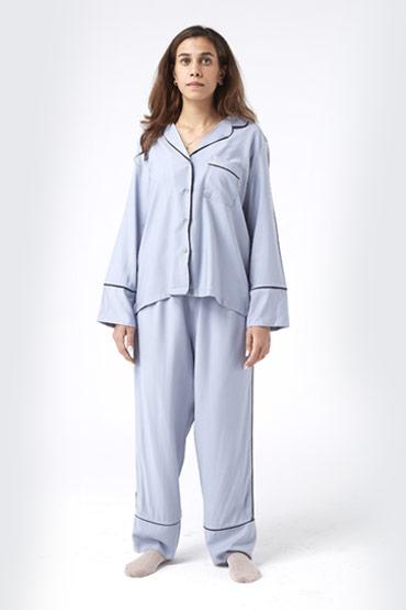 Contrast Piping Pocket Front Shirt & Pants  PJ Set – Carina thumbnail