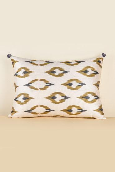 Cushion Silk Ikat In Ivory And Olive – Madu thumbnail
