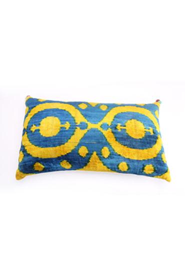 Cushion Velvet Ikat In Blue And Yellow – Madu thumbnail