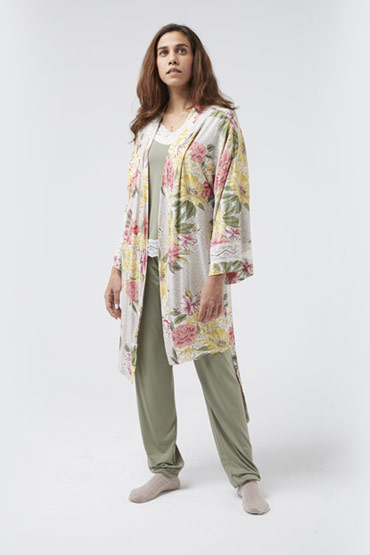 Floral Print Belted Wrap Robe – Carina thumbnail