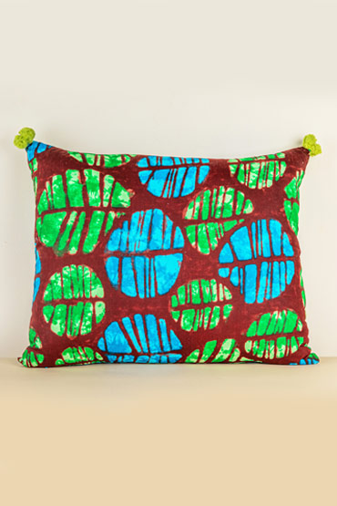 Kanga Cushion In Brown, Green And Turquoise – Madu thumbnail