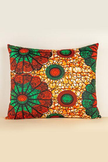 Kanga Cushion In Green And Red – Madu thumbnail