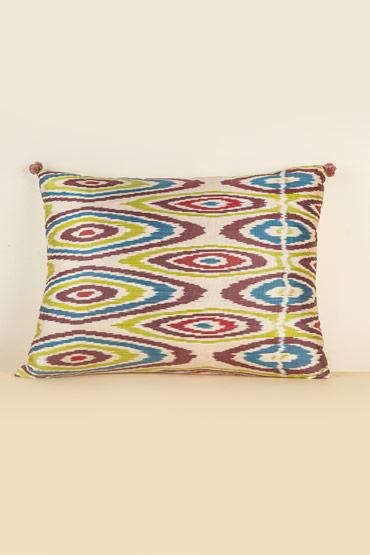 Silk Ikat Cushion In Ivory And Purple – Madu thumbnail