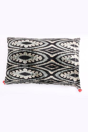 Velvet Ikat Cushion In Grey And Black – Madu thumbnail