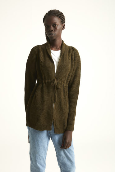 The Transitioning Cardigan In Olive Green thumbnail