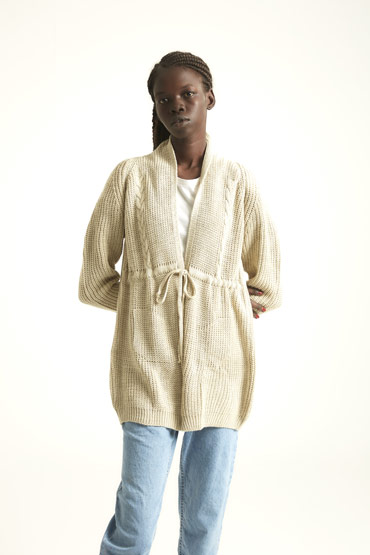 The Transitioning Cardigan In Beige thumbnail