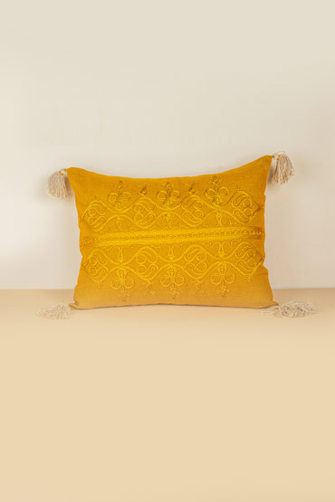 El Khan Cushion In Linen Mustard Gold – Malaika thumbnail