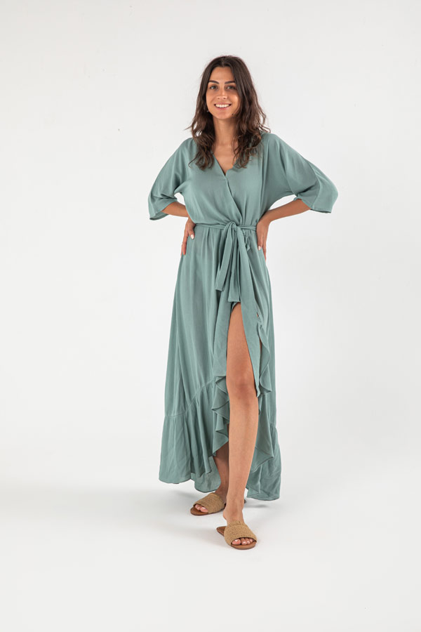 The Flamenco Dress In Teal Green thumbnail