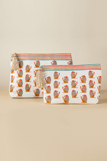 Small Baboons Make Up Bag In Printed Coral – Malaika thumbnail
