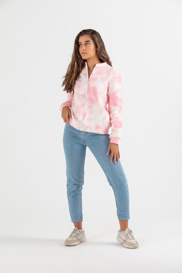 The Illusion Jacket In Pink Tie Dye Print thumbnail