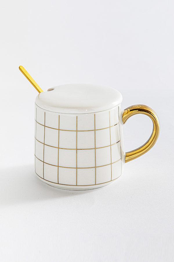 Checkered In White Mug thumbnail