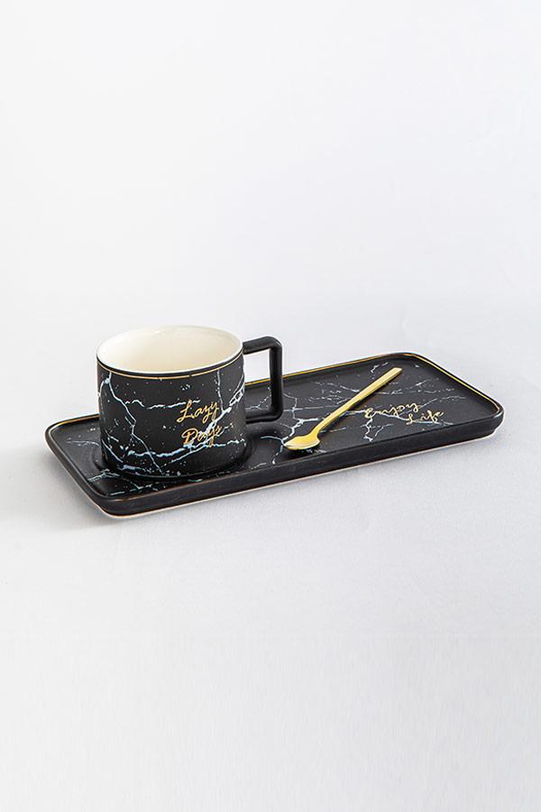 Mug with a tray In Black thumbnail